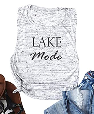 YUYUEYUE Lake Mode O-Neck Tank Top Women Summer Vacation Funny Cute Vest Shirt Tee