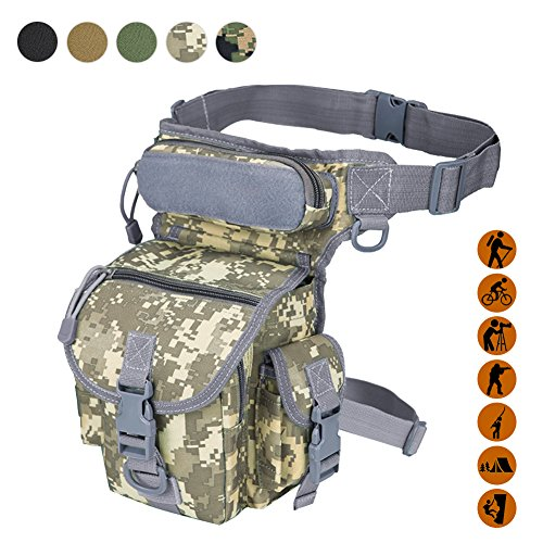 Military Tactical Drop Leg Bag Tool Fanny Thigh Pack Leg Rig Utility Pouch Paintball Airsoft Motorcycle Riding Thermite Versipack, ACU Camouflage