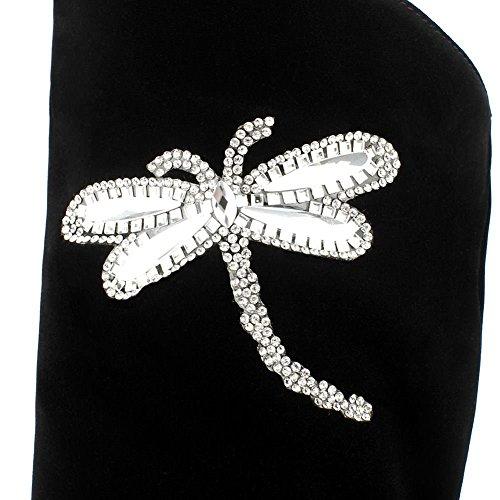 Con Stivali Donna Glitterati Decostain Floreali Neri Ornamenti Per YpE56