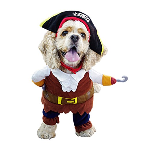 Adorrable Dog Costume Corsair Caribbean Pirates Dressing Up Halloween Costumes For Dog, Khaki, Large