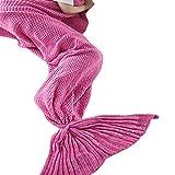 Vonty Mermaid Blanket,Mermaid Tail Blanket for Kids, All Seasons Sofa Sleeping Bag Sleeping Blankets for Kids,27''x55'',Rose Pink