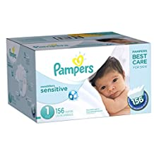 Pampers Swaddlers SENSITIVE Diapers Size 1, Super Economy Pack, 156 Count
