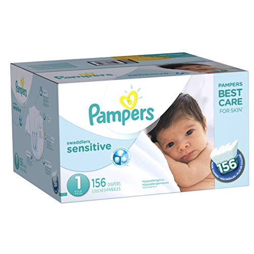 Pampers Swaddlers Sensitive Newborn Disposable Diapers Size 1 (8-14 lb) , 156 Count
