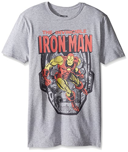 Marvel Men's the Invincible Iron Man Short Sleeve Graphic T-Shirt, Heather Grey, Medium