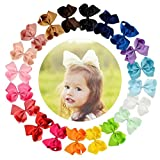 CHLONG 20pcs 6 Inches Pure Color Grosgrain Ribbon Hair Bow Clips Set for Girls Toddlers Kids Teens (6inch-20pcs)