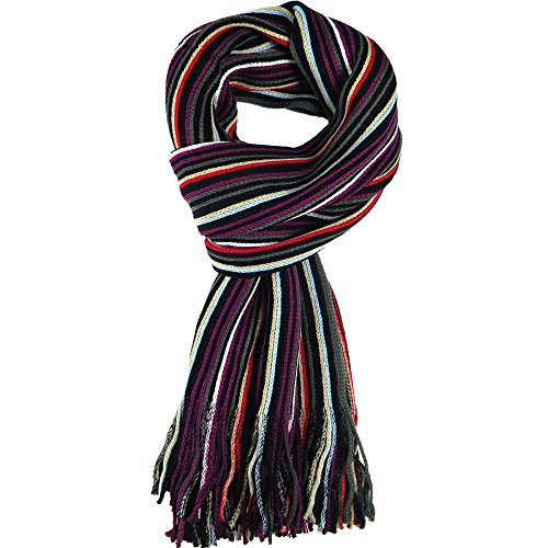 (Knit Winter Scarf In 8 Colors, Warm And Soft With Stylish Stripes By Debra Weitzner)