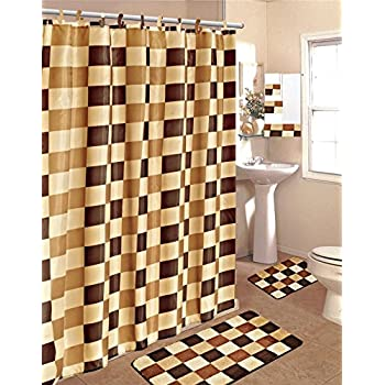 Amazon Com Brown Amp Beige 15 Piece Bathroom Set Bath Rugs