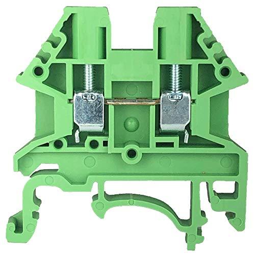 Dinkle Green DK2.5N-GN DIN Rail Terminal Block Screw Type UL 600V 20A 12-22AWG, Pack of 100
