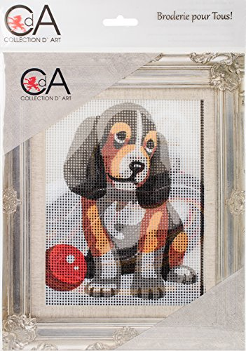 RTO Collection D'art Stamped Needlepoint Kit 14X18cm-Puppy With Ball by RTO