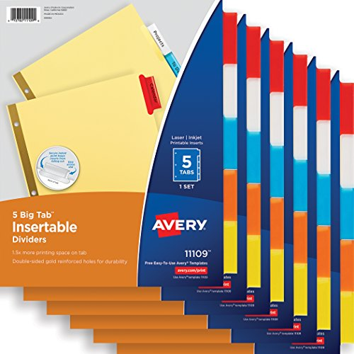 Tabs Divider Avery (Avery Big Tab Insertable Dividers, Buff Paper, 5-Tab Set, Multicolor, Multi Pack of 6 Sets (11109))