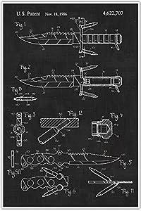 Weapons Patent Print, Survival Knife , Blueprint Patent, Patent Poster, Blueprint Poster, Art, Gift, Poster Print, Patent Poster