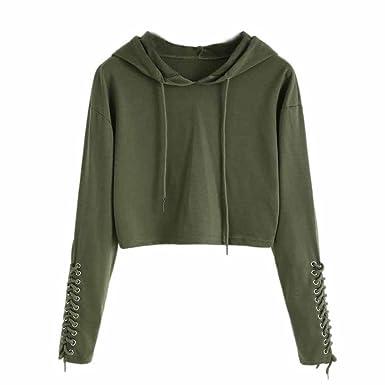 953019eba13f26 FDelinK Clearance Women Teen Girls Hoodie Sweatshirt Jumper Sweater Crop  Sports Pullover Tops (Army Green