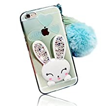 Sunroyal iPhone 4s 4 Crystal Clear Soft Transparent TPU 3D Cute Cartoon Rabbit (Bunny) [Bling Diamond Ear] Kickstand Silicone Ultra-thin Cases Cover with Hairball Pompon Wristlet Hand Strap - Green
