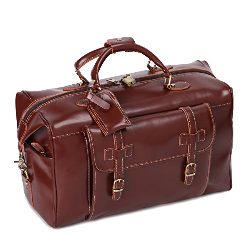 Mens Genuine Leather Overnight Travel Duffle Weekend Bag Brown