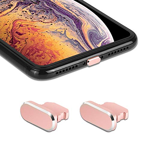 iMangoo 2 Pack Anti Dust Plugs for iPhone Xs Max 8 Pin Charging Port Plug iPhone 11 Pro Max Anti-dust Pluggy with Easy Storage Case, iPhone 10s Charge Port Plug for Apple iPhone XR XS Max Rose Gold