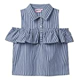 Isped Girls Striped Sleeveless Shirts with Ruffle Summer Casual Blouses Blue Size 12Y