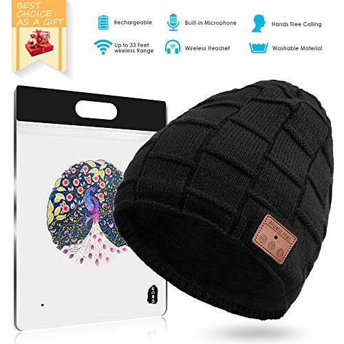 BLUEHRESY Bluetooth Beanie Hat V5.0 Wireless Music Hat Knit Cap with Speakers & Mic for Men/Women (Black)