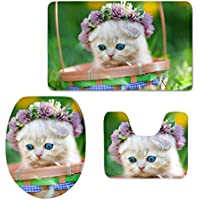 HUGS IDEA Cute Cat Scottish Fold Print Bathroom Rug Set Includes Bath Mat Contour Rug Toilet Lid Cover
