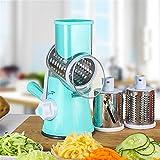 TTLIFE Round Mandoline Slicer/MandolineSlicer/StainlessSteel Vegetable Chopper Vegetable Cutter Manual Potato Julienne Carrot Slicer Cheese Grater with 3 Blades Kitchen Tool-Blue