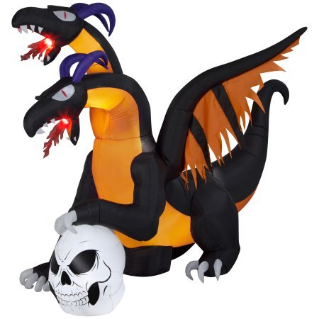 Airblown Inflatable-Two Headed Dragon with Flaming Mouth Patio Outdoor Halloween Decoration -
