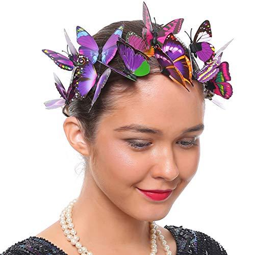 - Coucoland Fascinator Headband Butterfly Mesh Ribbon Headband Festival Costume Wedding Tea Party Hair Accessory for Women (Purple Ribbon)