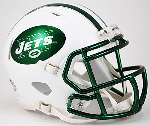 Riddell NFL New York Jets 2017 Color Rush Chrome Green Mask Speed Mini Football Helmet