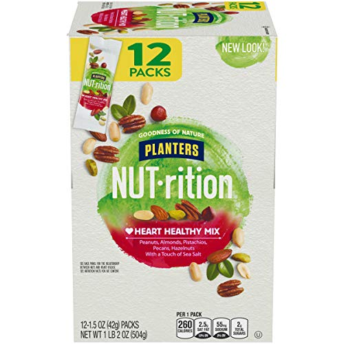 NUTrition Heart Healthy Nut Mix (1.5 oz Bags, Pack of 12)