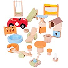 Bigjigs Toys Heritage Doll Furniture House and Garden Playset