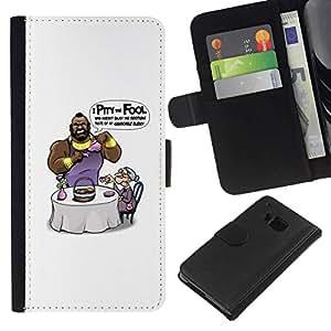 NEECELL GIFT forCITY // Billetera de cuero Caso Cubierta de protección Carcasa / Leather Wallet Case for HTC One M7 // Lástima que El Loco Mr T divertido