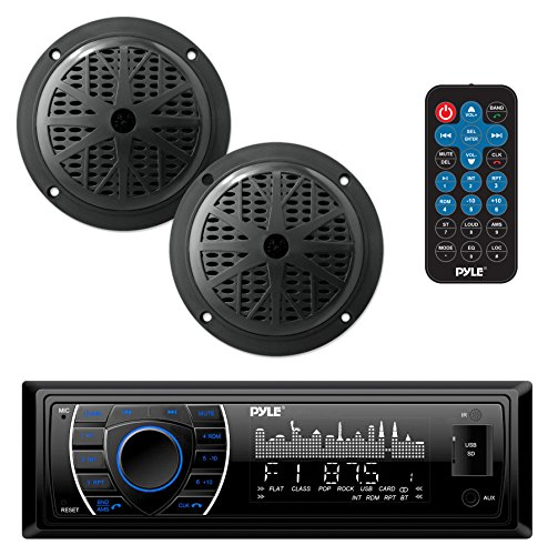 Marine Headunit Receiver Speaker Kit - In-Dash LCD Digital Stereo Built-in Bluetooth & Microphone w/AM FM Radio System 5.25'' Waterproof Speakers (2) MP3/SD Readers & Remote Control - Pyle PLMRKT46BK -