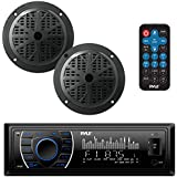 Marine Headunit Receiver Speaker Kit - in-Dash LCD Digital Stereo Built-in Bluetooth & Microphone w/AM FM Radio System 5.25'' Waterproof Speakers (2) MP3/SD Readers & Remote Control - Pyle PLMRKT46BK