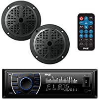 Pyle Bluetooth Marine Stereo Receiver & Speaker Kit | AM/FM Radio Headunit with Wireless Streaming | Hands-Free | (2) Waterproof Speakers | MP3 USB SD AUX | Single DIN | 4 x 75 Watt (PLMRKT46BK)