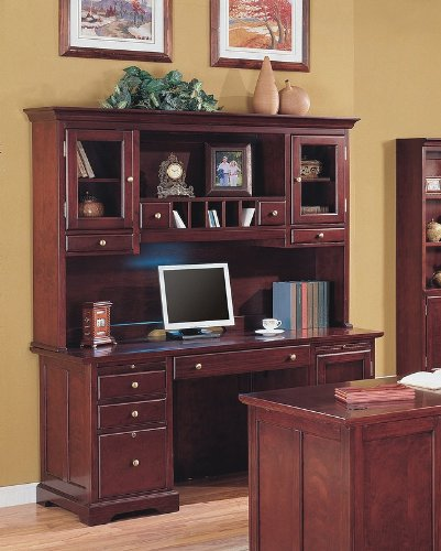 Attrayant Elegant Cherry Finish Home Office Credenza Desk With Hutch