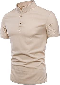 LuckyGirls Camisetas Hombre Verano Basicas Color Puro Lino Remera ...