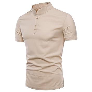 LuckyGirls Camisetas Hombre Verano Basicas Color Puro Lino Remera Moda  Manga Cortos Originales Cuello Abierto Polos 08b837ba237d8