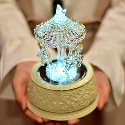 loveforyou Crystal Carousel Music Box Color Change LED Light Luminous Rotating 3-Horse Musical Box as Christmas Birthday Valentine's Children's Gifts,Castle in the Sky Tune(Hand Spun Glass,Rotating Mi