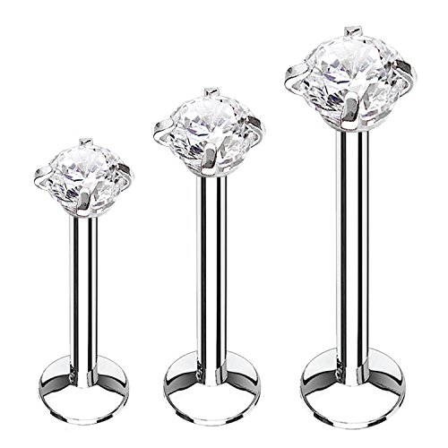 BodyJ4You 3PC Labret Stud Tragus Earring Set 16G Surgical Steel Helix Monroe Cartilage Piercing Jewelry