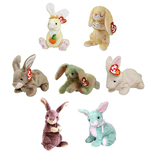 TY Beanie Babies - SET OF 7 BUNNIES (Nibbly, Nibbler, Cottonball, Grace, Spring +2)(5-8 (Rabbit Beanie Baby)