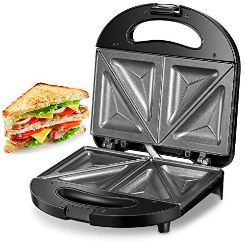 Review Kealive Sandwich Maker, Sandwich Toaster 750-Watts, Sandwich Press with Non-stick Coating, LE...