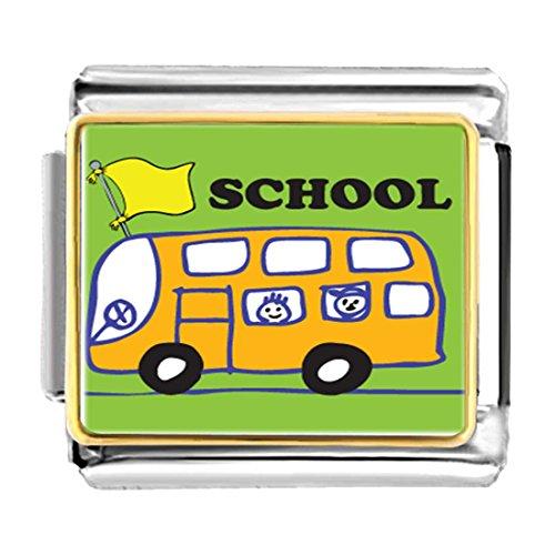 GiftJewelryShop Gold Plated Fun School Bus Bracelet Link Photo Italian Charm