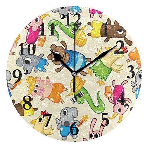 (NMCEO Round Wall Clock Bear Sheep Pig Acrylic Original Clock for Home Decor Creative)