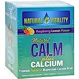 Natural Vitality Natural Calm Plus Calcium Raspberry Lemon – 30 Packets – Gluten Free – Premium Balanced Magnesium-Calcium Drink For Sale