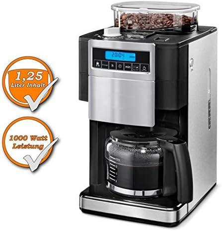 Filtro Cafetera Eléctrica integrada, molinillo de café, 12 tazas café 1,25 litros, 1000 W, color negro y plateado: Amazon.es: Hogar