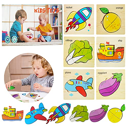 OMIO Wooden Puzzles for Toddlers - Wooden Jigsaw Puzzles for Toddlers, Wooden Toddler Puzzles for Kids, Early Educational Wooden Puzzles with Gift Box-L