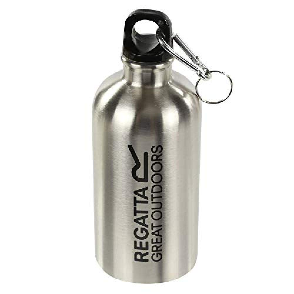 Regatta 0.5 Litre Steel Camping and Hiking with Karabiner Lid Bouteille Mixte