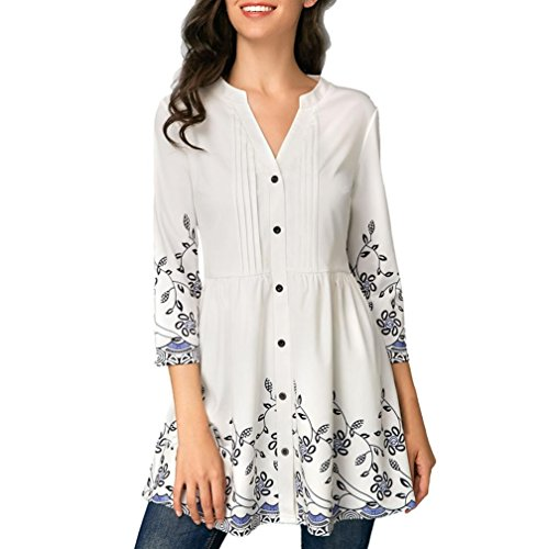 (iYYVV Fashion Women Casual Button Down V-Neck Printed 3/4 SleeveTunic Blouse Tops)