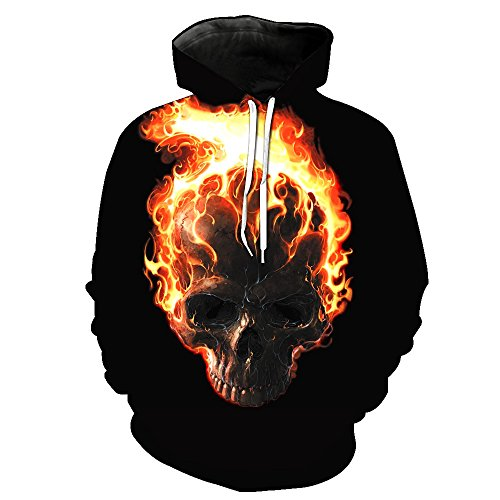 One tree Lovers Flame Skull Printing Spring/Autumn Thin Long Sleeve Sweatshirts Casual Hoodies M