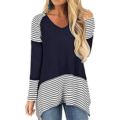 Fshinging Autumn Women Stripe Blouse V Neck Long Sleeve Shirt Casual Tunic Tops Pullover ()