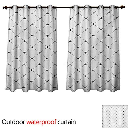 - WilliamsDecor Fleur De Lis Outdoor Ultraviolet Protective Curtains Shabby Chic Style Damask Pattern with Vintage Kitsch Geometric Diamond Lines W72 x L72(183cm x 183cm)