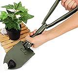 Small Garden Spade - Spade Garden Tool - Multifunction Gardening Collapsible Shovel Folding Shovel Yard Tool - Green ( Hand Garden Spade )